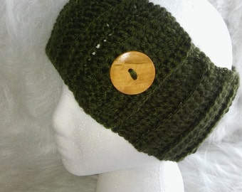 Olive Green Ear Warmer with Button detail