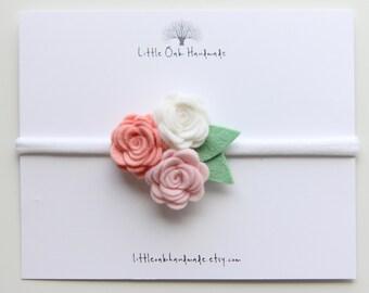 Wool Felt Trio Rose Bouquet Headband - White, Rose, and Vintage Pink Flower Headband - Baby Headband - Nylon Headband