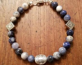 B4s Genuine Sodalite Gemstone Handmade Sterling Beaded Bracelet