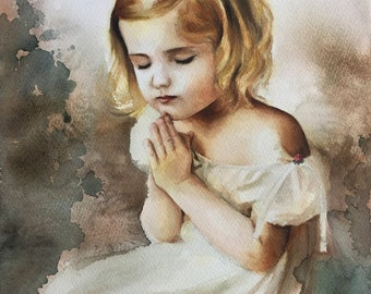Original Watercolor Painting . Portrait of girl in prayer