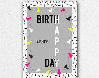 "Birthday card model ""Laura"" - customizable"