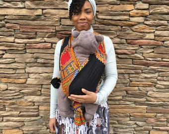 Black Dashiki African Woven Baby Wrap Carrier Wrap Safe Cotton Carry-Non-Stretch