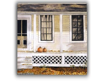 Watercolor art print mounted on wood panel — ready to hang — House with Pumpkins on Front Porch