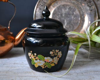 Vintage Black Avon Floral Apothecary Glass Jar glam/boho/eclectic/dark/home decor/bathroom storage