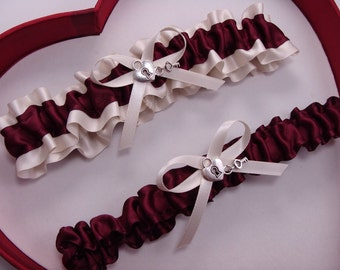 Wedding Garter,  Burgundy, Ivory - Wedding Garter Set,  Select Keepsake Garter Toss Garter