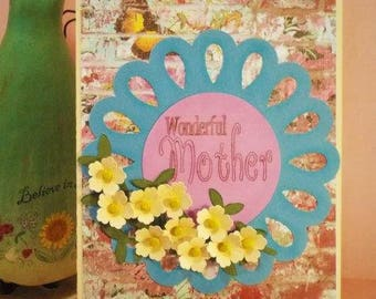 "Greeting card ""Wonderful Mother"" this unique and charming handmade card will make Mom feel loved for her Birthday, thank you or Mother's Day"