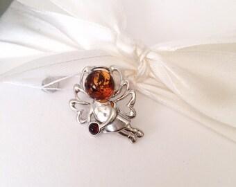Final Fantasy Jewelry, Pendant amber, Pendant angel, Pendant angel amber - Silver angel -wings pendant - Amber Angel, wings silver