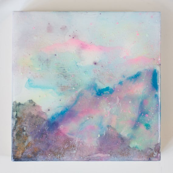 Birch Wood Panel Acrylic Space Painting Opal #6-A