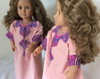 18 inch dolls clothes, 18 inch doll kaftan, to fit AG OG and similar 18 inch girl dolls, pink dolls gown, 18 inch doll collectors item, ooak