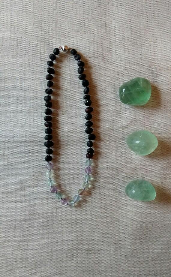 rainbow drop • Baby teething necklace baltic amber