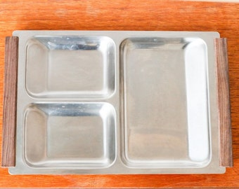Danish stainless steel serving tray wooden handles - Denmark vintage