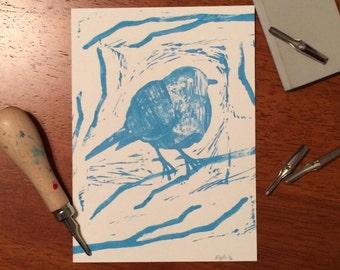 Bird in Branches, Fine Art Print, Original Relief Print