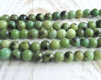 Chrysoprase 8mm beads, Chrysoprase gemstone beads, green beads, chrysoprase strand, full strand, round chrysoprase, US seller, bead supplies