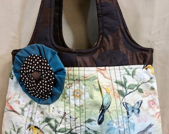 Large pastel colors butterflies, birds and flowers pattern tote bag