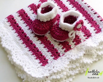 """Baby blankets & baby shoes """"Charming"""" in the set of frollein cosa"""