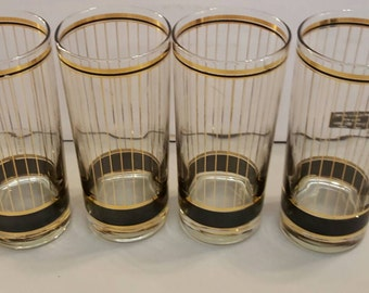 Set of four Culver Devon Black Highball Glasses