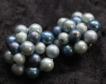 "CE # 103 Blue and Light Blue ""Pearl"" Cluster Bead Clip On Earrings"