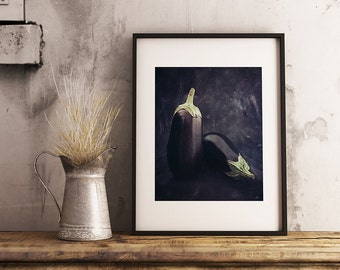 Printable Kitchen Wall Decor, Eggplants Photo, Printable Home Decor, Instant Download Photo Art, Gift For Hostess, Gift For Her