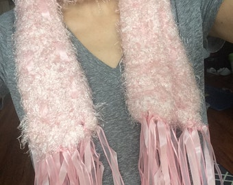 Handmade Soft Fuzzy Pink Scarf with Ribbons