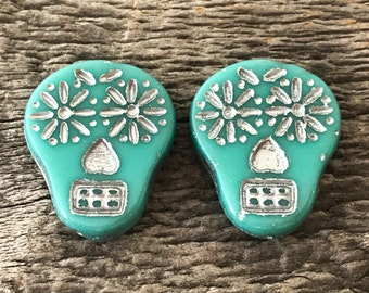 Czech Glass Sugar Skull Beads, Opaque Turquoise with Silver Wash, 20X17mm, 2 Qty.