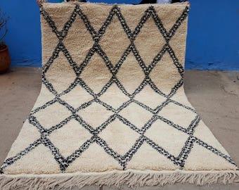 Moroccan rug Beni Ourain rug handmade 100% wool rug 10 x 6,5 feet