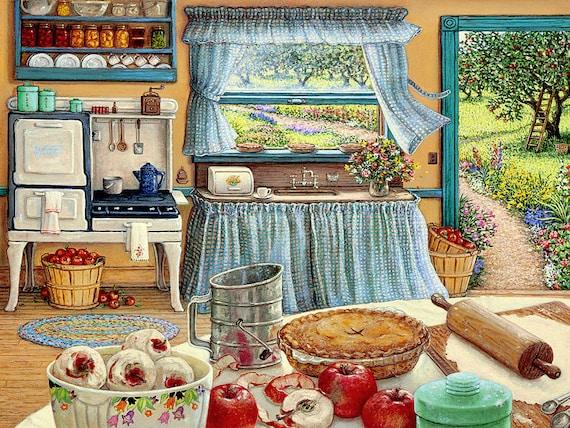 Cheap cross stitch pattern - Large cross stitch chart - Apple pie harvest - Cross stitch kitchen DIY decor - Download Printable PDF -