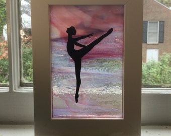 Ballet Dancer Arabesque: Acrylic Painting on Stained Glass
