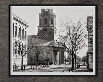 Photo, Charleston, S.C., Saint Michael's Church, Civil War Photos, Black and White Photography, Photography, Poster, 1862