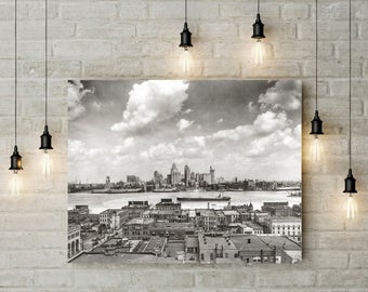 Detroit Skyline Photo, Detroit Michigan and Detroit River, 1929, Black and White Photography, Photography, Poster