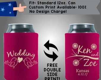 Wedding Birds Names and State Date Collapsible Fabric Wedding Cooler Double Side Print (w64)