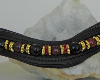 """15"""" Red Tiger's Eye and Obsidian Browband"""