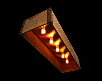 Rustic Lightbox Barn Chandelier featuring 1800s Barn Wood Oak Boards & Recessed Solid Copper Plate with Bulb Sockets Surrounded by Steel.