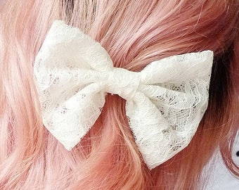 "lace hair bow, lace bow accessory, lace hair clip, lace bow Barrett, choose white, ivory, vintage cream, pink, 4"" lace bow hair accessory"
