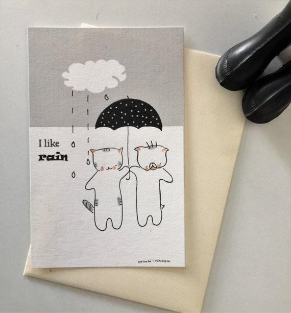 """Postcard """"Choumi et Michou aiment la pluie"""