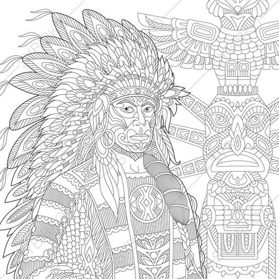 Adult Coloring Pages Native American Indian Chief Zentangle