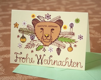 Merry Christmas greeting card with brown bear