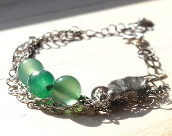 Silver Bar Bracelet, Gemstone, Multi Strand silver bracelet, Green Bracelet, Chunky Silver Bracelet, Aventurine