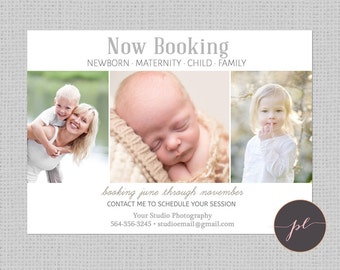 Now Booking template, Photographer Promotion Flier, Marketing, Photoshop Template, Instant Download, Natural Template