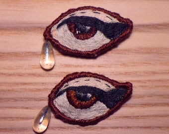 Sad Girls Club Lover's Eye Brown tear drop hand embroidered brooch/pin
