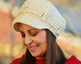 Newsboy hat, crochet hat women, cream newsboy cap, women knitted hat winter, chunky knit hat, wool crochet hat, newsboy cap, women gift