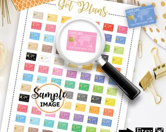 Credit Card Stickers, Printable Planner Stickers, Digital Stickers for Planners