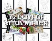 12 days of christmas/winter printable set of coloring pages
