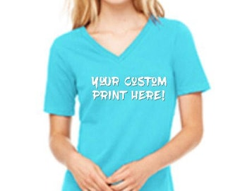 Relaxed Jersey Short Sleeve V-Neck Tee w/ custom print