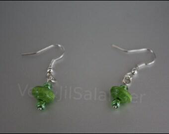"""Paper beads earrings """"green eye"""" #338"""