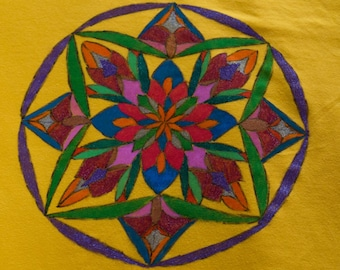 T Shirt women - Size XL - drawn Mandala - handmade