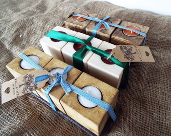 Set of 3 Reclaimed wood candle holders on a slate tray, handmade. Rustic beautiful.