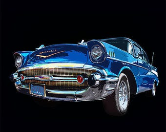 Chevy - 55 Chevy - 1955 Chevy - Bel Air - Heavy Chevy - Vintage Car - Poster - Print - Muscle Car - 8x10 - 11x14 - 16x20 - (JS0931)