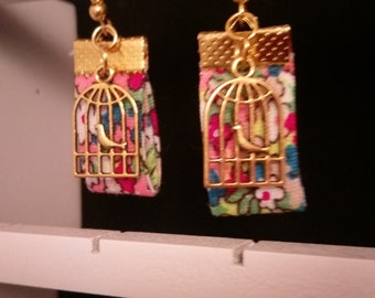 Earrings liberty and cages birds charms