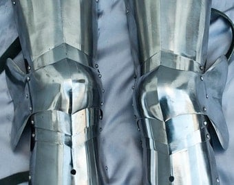 SCA combat leg armor, medieval cuisses with knees and poleyns
