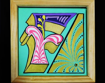Letter F Painting - Original Framed Boxed Canvass